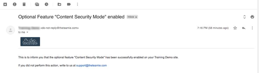"Optional Feature ""Content Security Mode"" enabled - nikhil@theteamie.com - Teamie Pte Ltd Mail"