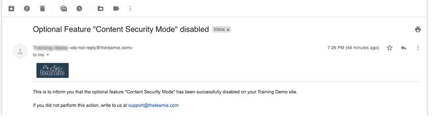 "Optional Feature ""Content Security Mode"" disabled - nikhil@theteamie.com - Teamie Pte Ltd Mail"