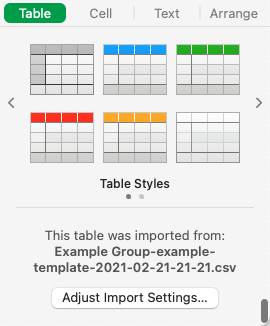 In the Format  sidebar, click the Table tab, then click Adjust Import Settings.