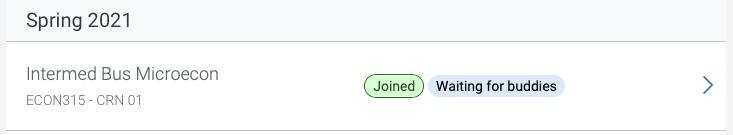 Study Buddy Group status screen