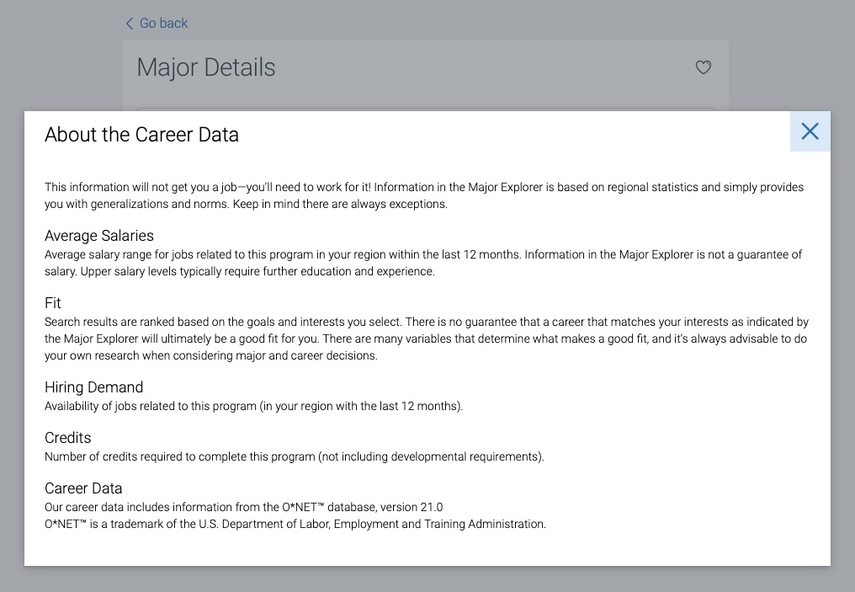 About the Career Data screen