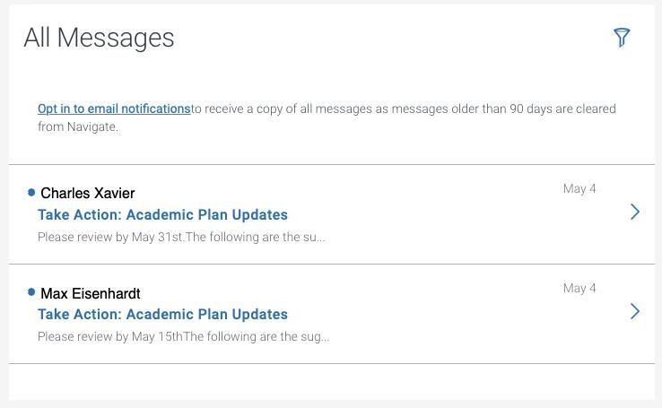 Messages screen