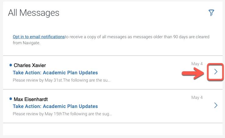 Messages details arrow