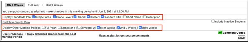 Post Standard Grades