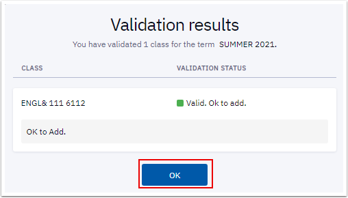 Validation results pagelet