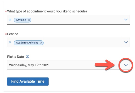 Arrow pointing to Pick a date drop-down caret