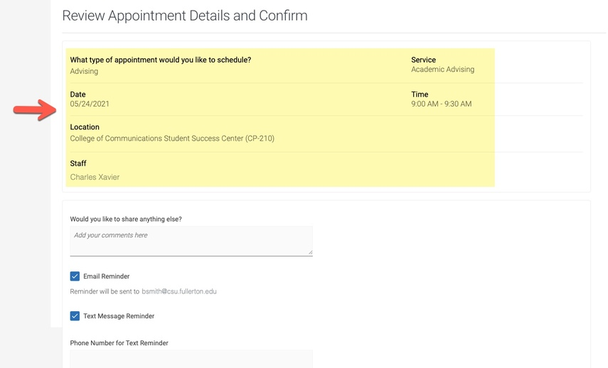 Arrow pointing to Review Appointment details