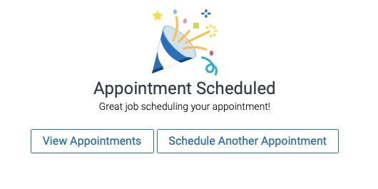 Appointment Scheduled screen