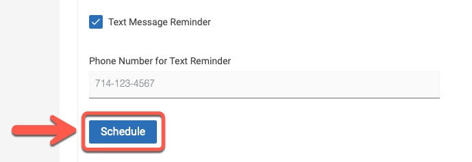 Arrow pointing to Schedule button