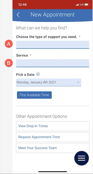 New Appointment screen highlighting Type of appointment and service