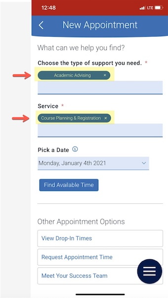 Type of appointment and service populated fields
