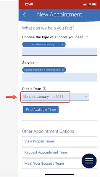 Arrow pointing to Pick a Date field