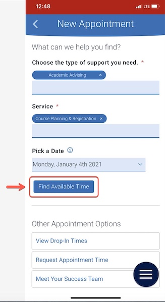 Arrow pointing to Find Available Time button