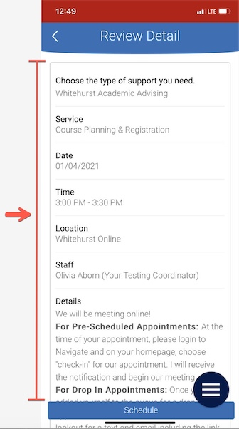 Arrow pointing to Review Details screen