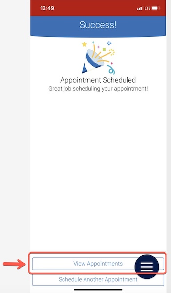 Arrow pointing to View Appointments button