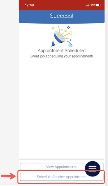 Arrow pointing to Schedule Another Appointment button