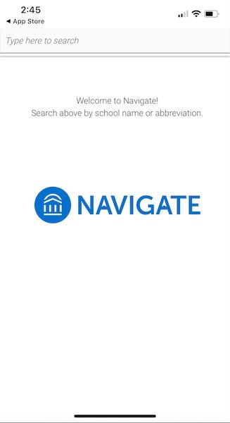 Navigate school search screen