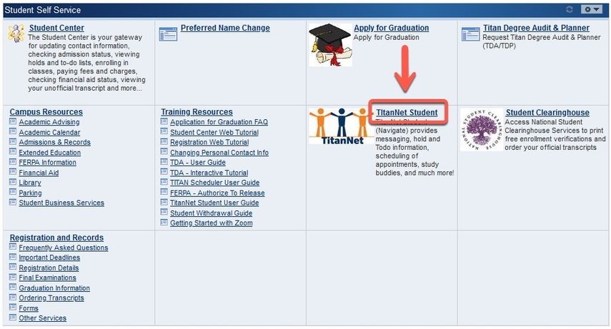Student Self Service page with TitanNet Student highlighted