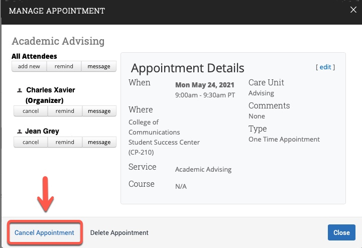 Arrow pointing to Cancel Appointment link