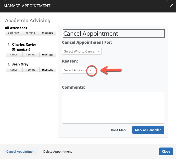 Arrow pointing to Reason drop-down caret