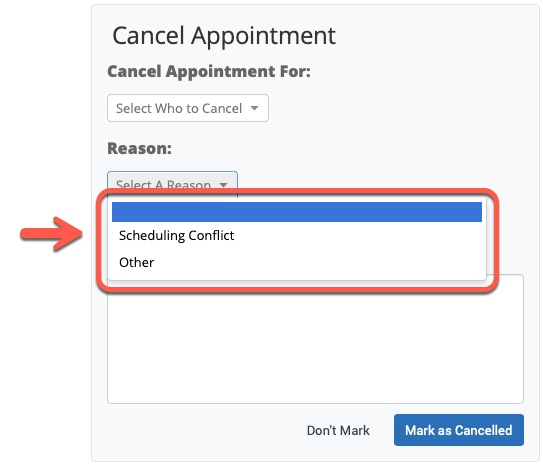 Arrow pointing to Reason options