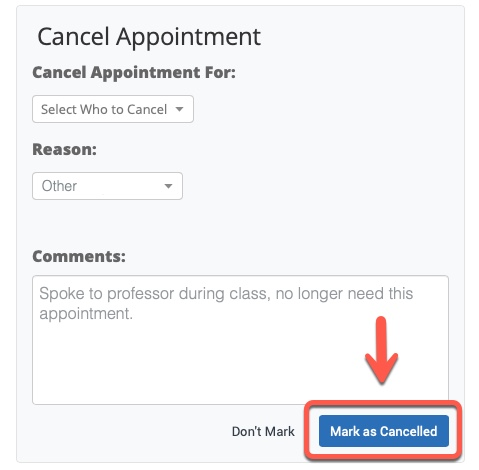Arrow pointing to Mark as Cancelled button