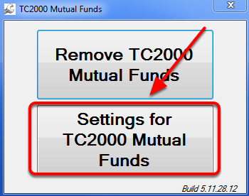 3. Select Settings for TC2000 Mutual Funds.