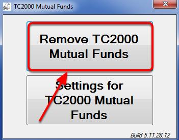 7. Click Remove TC2000 Mutual Funds.