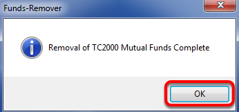 9. Click OK in the Removal Complete Window.