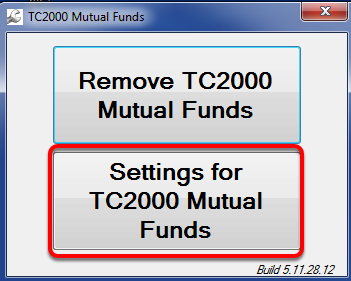 22. Click Settings for TC2000 Mutual Funds.