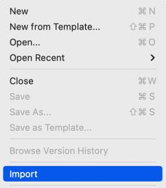 Excel: File menu > Import