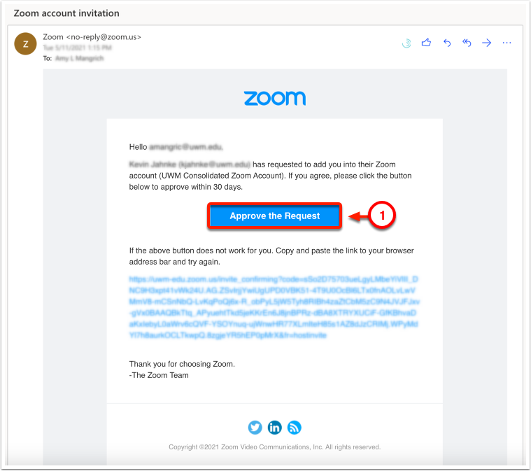 Zoom account invitastion email