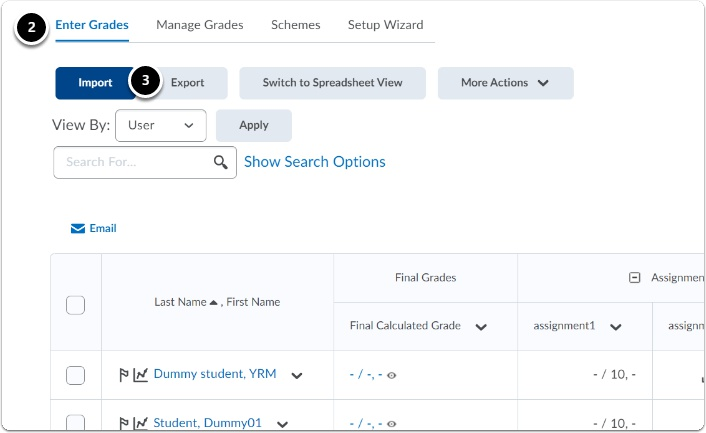 in the tab Enter grades, click Swtih to Spreadsheet view