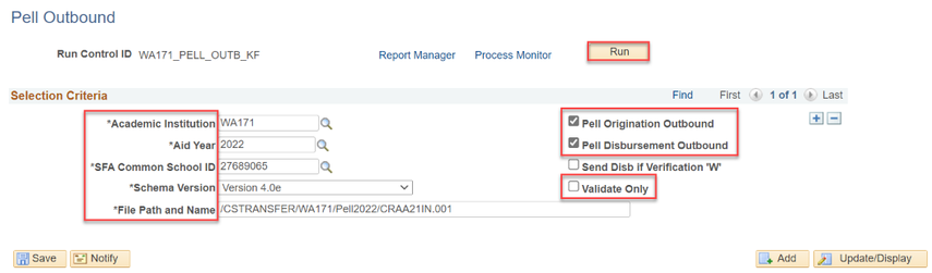 Pell outbound page with selection criteria defined