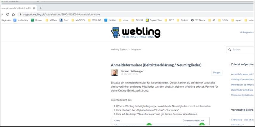 Anmeldeformulare (Beitrittserklärung / Neumitglieder) – Webling Support - Google Chrome