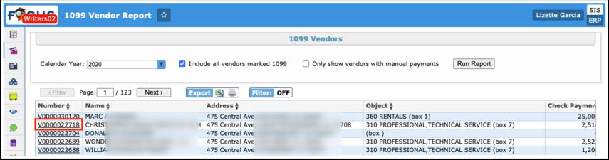 1099 Vendor Report