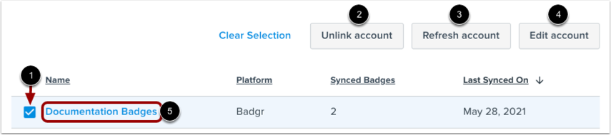 View Badging Account Options