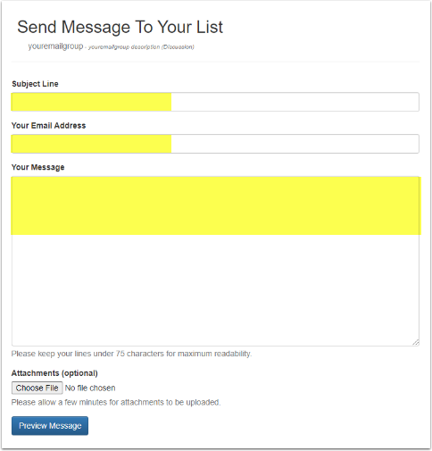 Enter your subject line, email address and message