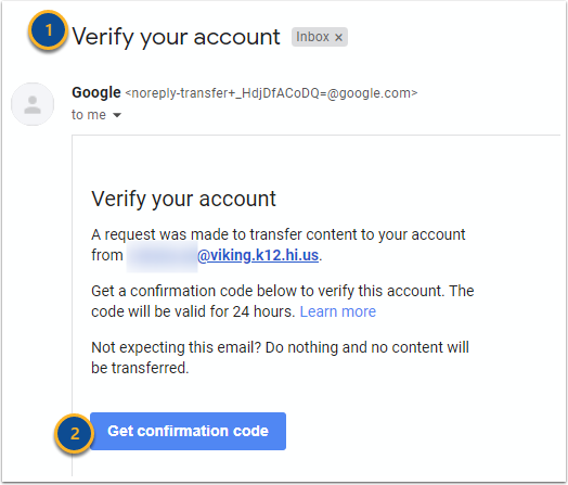 Verify your account - 3521200027@k12.hi.us - Hawaii Department of Education Mail - Google Chrome