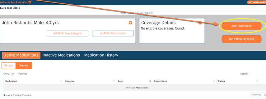 Click on the 'Add New Prescription' button