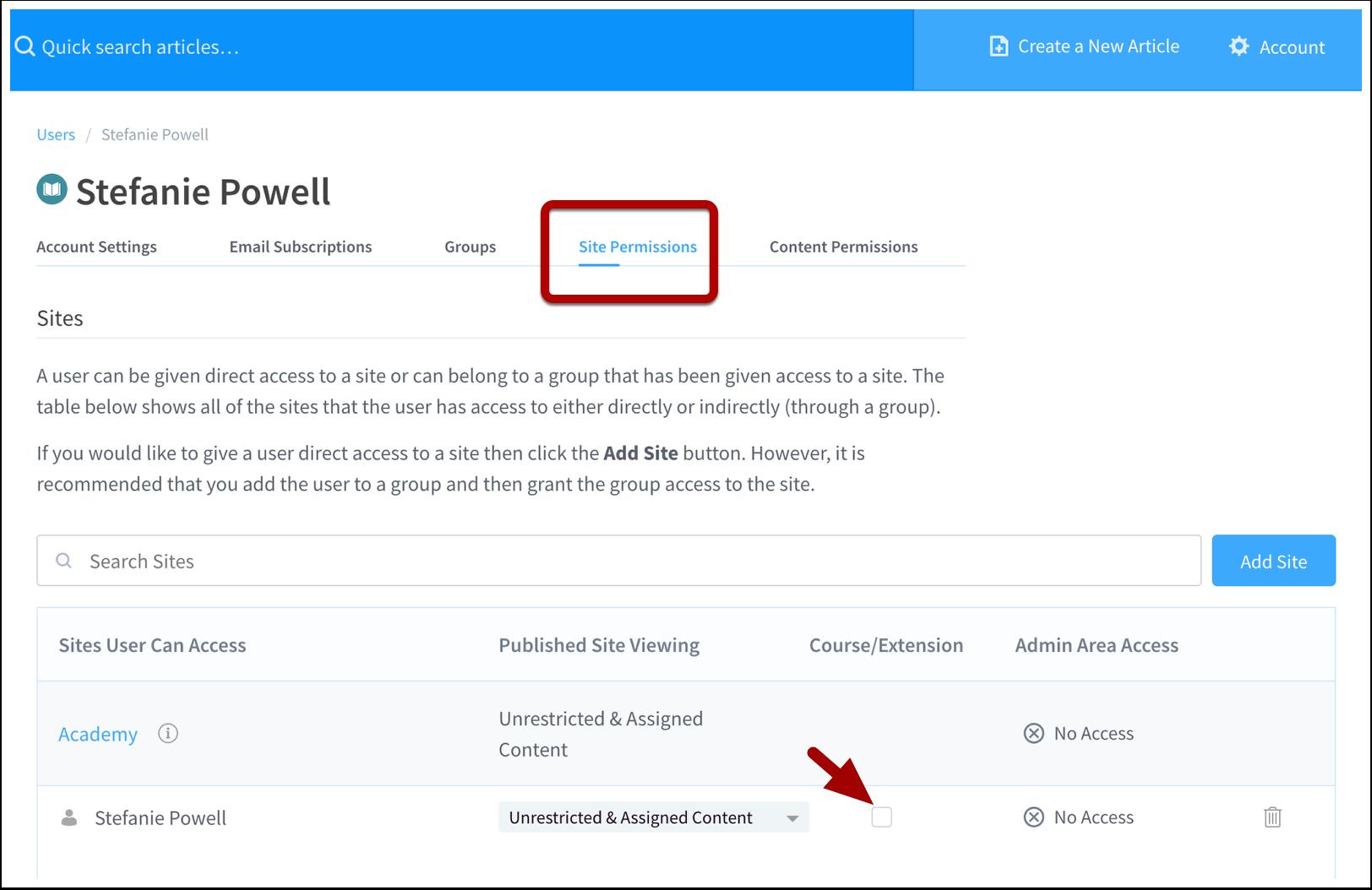 Site Permissions | User | ScreenSteps