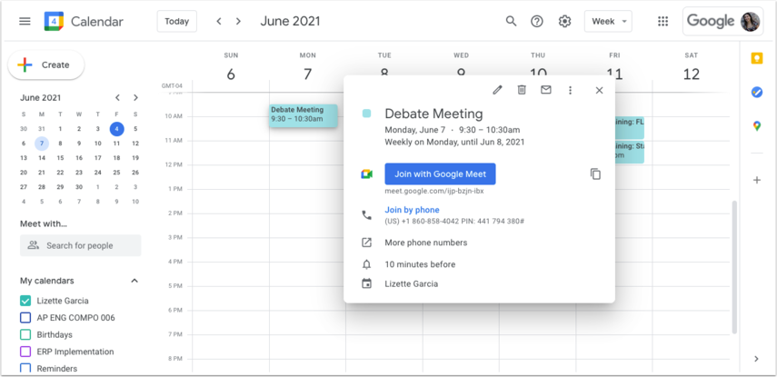 Focus School Software - Calendar - Week of June 6, 2021