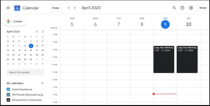 Google Calendar - Week of April 5, 2020