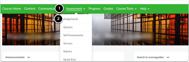 Click Assessment, then Assignment