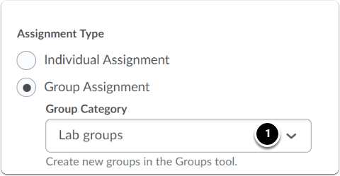 Group Assignment - Select Group Category