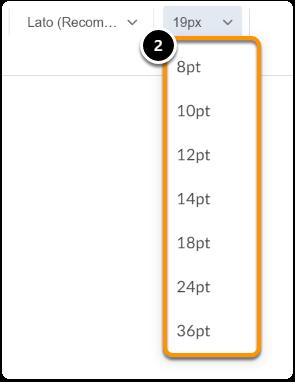 Select a Font size