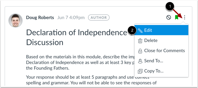 Edit Topic in Discussions Redesign