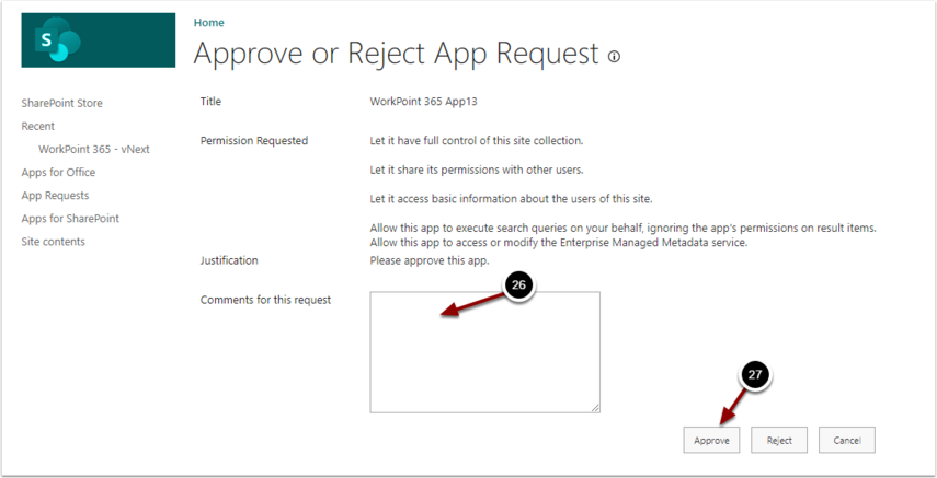 Approve or Reject App Request - Google Chrome