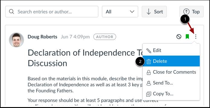 Delete Discussion in Discussions Redesign