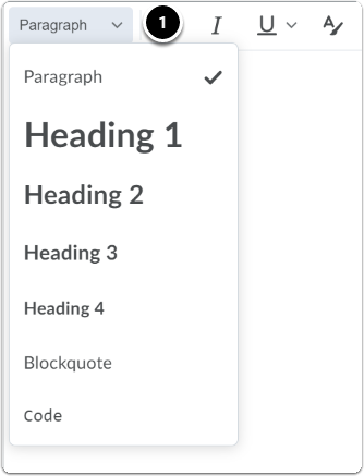 Click on the downward arrow next to paragraph